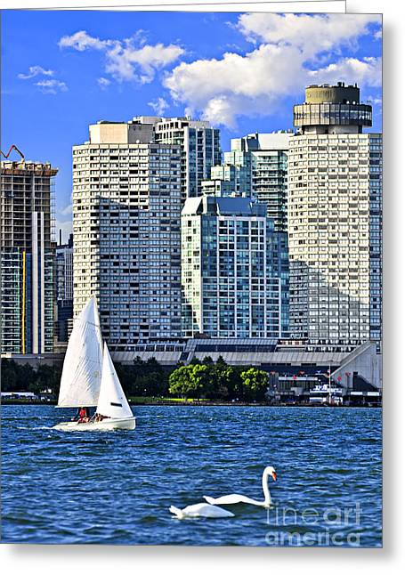 Sailing In Toronto Harbor Greeting Card by Elena Elisseeva
