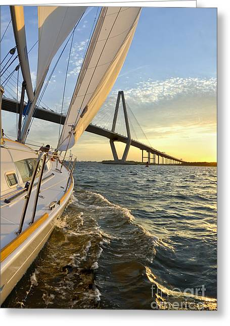 Sailing On The Charleston Harbor During Sunset Greeting Card by Dustin K Ryan