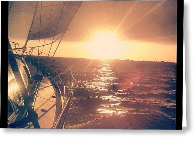 Sailing Sunset Greeting Card by Dustin K Ryan