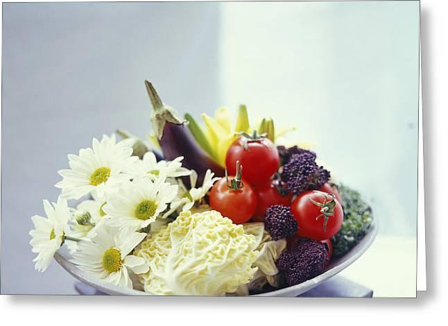 Salad Vegetables Greeting Card by David Munns