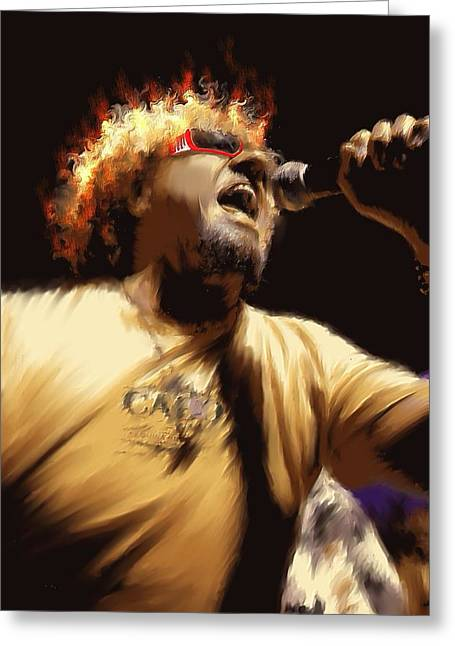 Recently Sold -  - Star Glass Art Greeting Cards - Sammy Hagar Greeting Card by Lance  Kelly