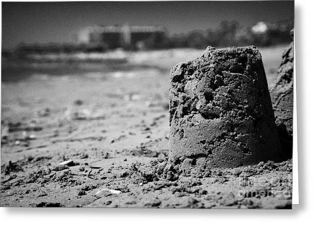 Sandcastles On Cyprus Tourist Organisation Municipal Beach In Larnaca Bay Republic Of Cyprus Europe Greeting Card
