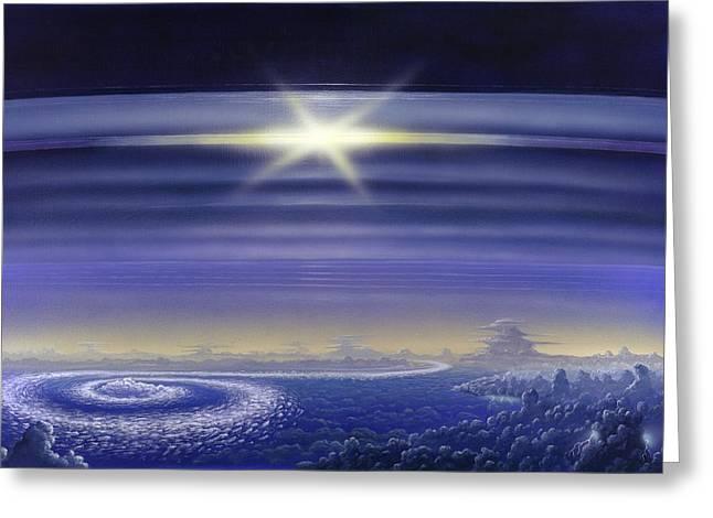 Saturn's Rings, Artwork Greeting Card by Richard Bizley