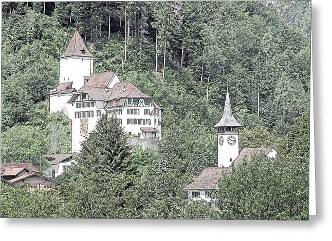 Schloss Wimmis And Church Switzerland Greeting Card by Joseph Hendrix