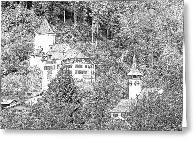 Schloss Wimmis And Church Wimmis Switzerland Greeting Card by Joseph Hendrix