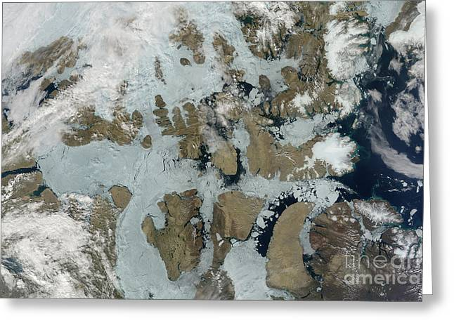 Sea Ice Retreats In The Northwest Greeting Card by NASA/Science Source