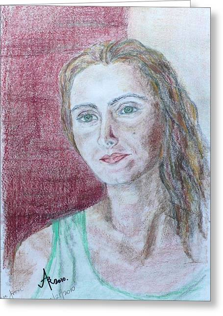 Greeting Card featuring the drawing Self Portrait by Anna Ruzsan