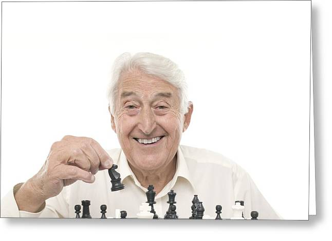 Senior Man Playing Chess Greeting Card