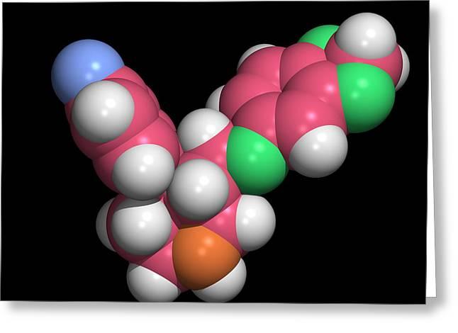 Seroxat (paroxetine) Molecule Greeting Card by Dr Tim Evans