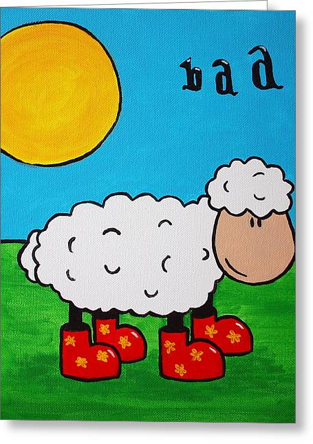 Greeting Card featuring the painting Sheep by Sheep McTavish