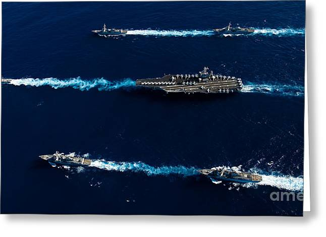 Ships From The John C. Stennis Carrier Greeting Card by Stocktrek Images