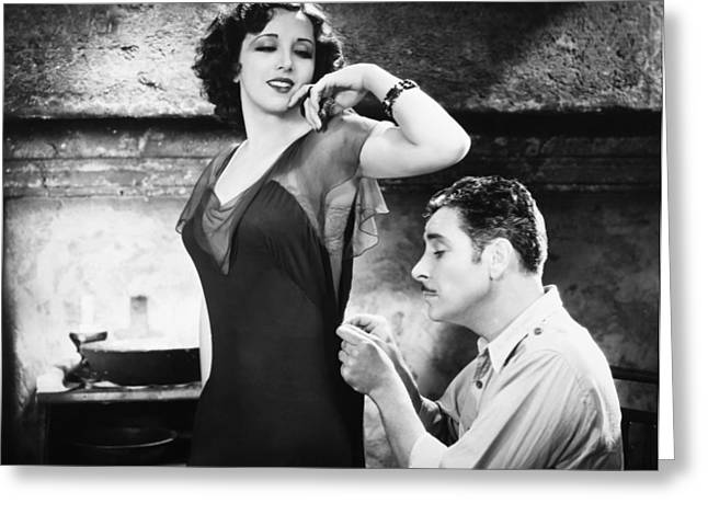 Silent Film Still: Sewing Greeting Card by Granger