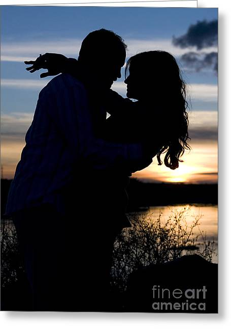 Silhouette Of Romantic Couple Greeting Card
