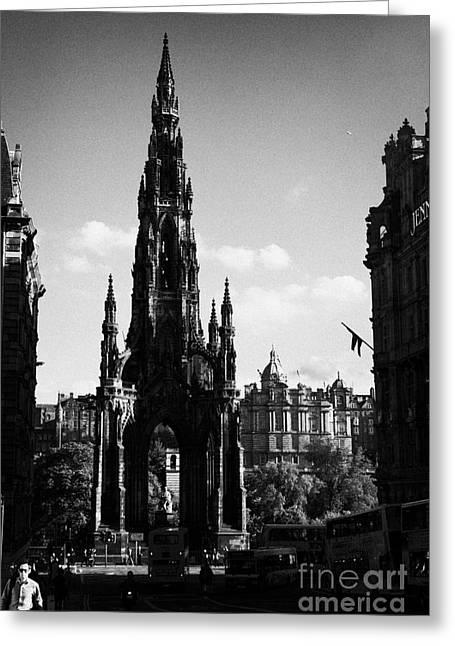 Sir Walter Scott Monument Princes Street Edinburgh Scotland Uk United Kingdom Greeting Card by Joe Fox