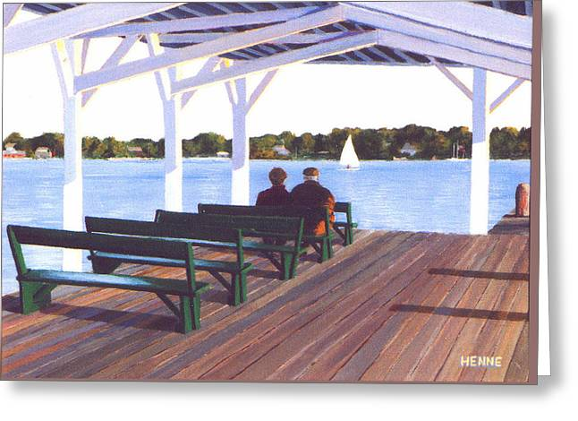 Greeting Card featuring the painting Sitting By The River by Robert Henne
