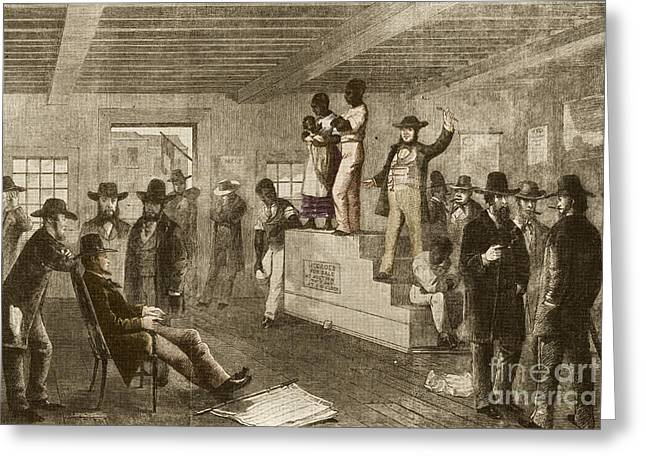Slave Auction, 1861 Greeting Card by Photo Researchers