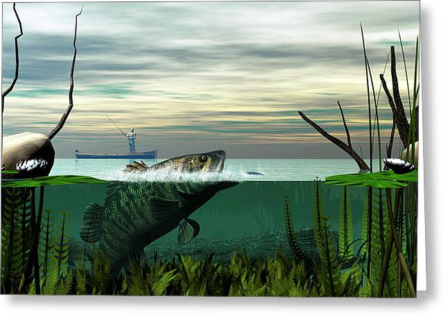 Smallmouth Bass Greeting Card by Walter Colvin