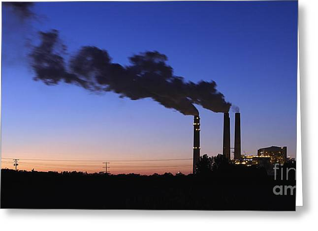 Smokestacks Billowing Smoke At Night Greeting Card by Skip Nall