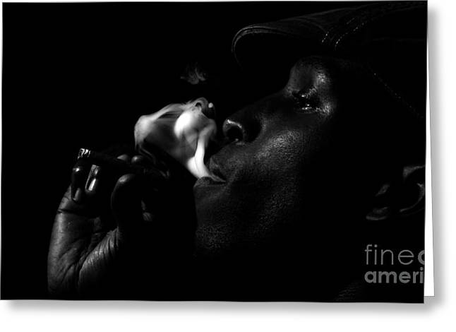 Smoking Man Greeting Card by Lenroy Johnson