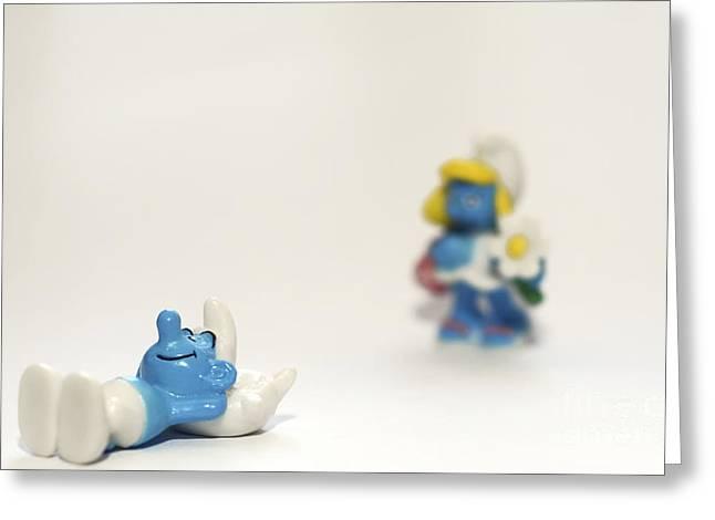 Smurf Figurines Greeting Card