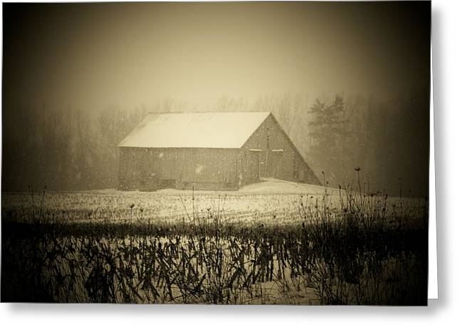 Snow Barn Greeting Card by Michael L Kimble
