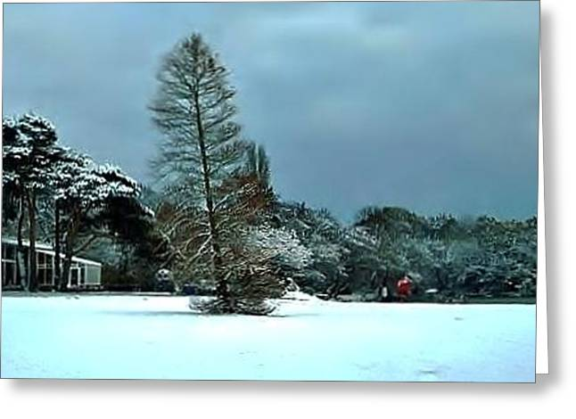 Greeting Card featuring the photograph Snow In Poole Park by Katy Mei