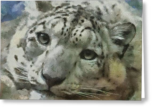 Snow Leopard Painterly Greeting Card by Ernie Echols