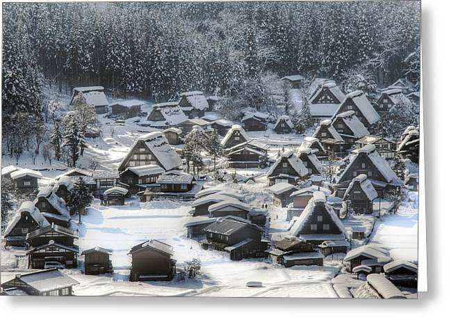 Snowy Village Greeting Card by Kean Poh Chua