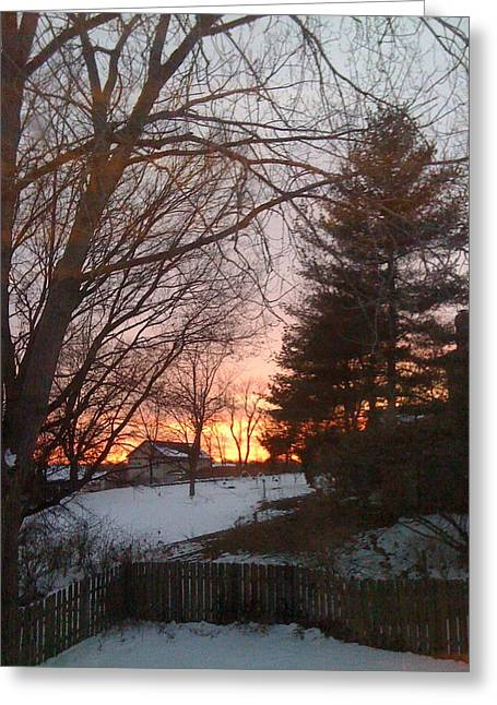 Snowy Winter Sunset Greeting Card