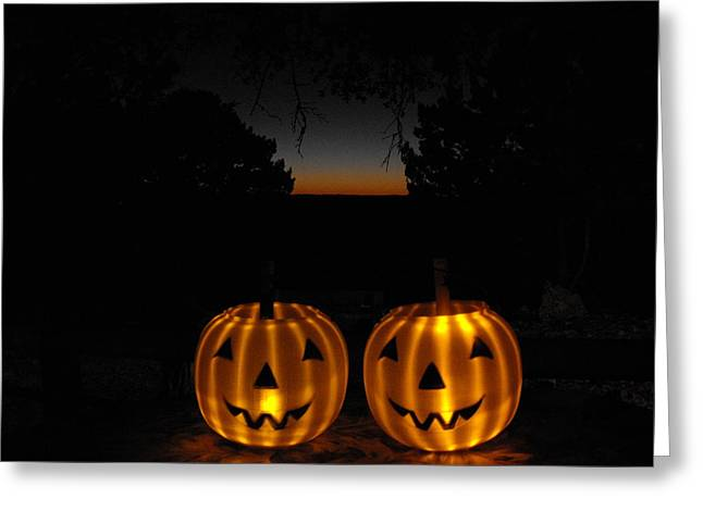 Solar Halloween Pumpkins Greeting Card by Rebecca Cearley