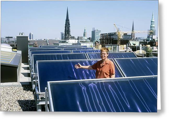 Solar Heat Collectors, Germany Greeting Card by Martin Bond