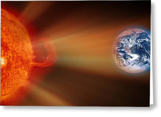 Solar Storm, Artwork Greeting Card by Victor De Schwanberg