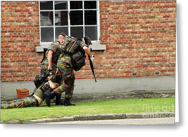 Soldiers Of The Belgian Army Helping Greeting Card