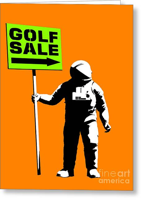 Space Golf Sale Greeting Card by Pixel Chimp