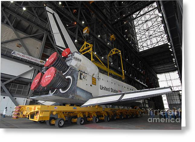 Space Shuttle Atlantis Rolls Greeting Card by Stocktrek Images