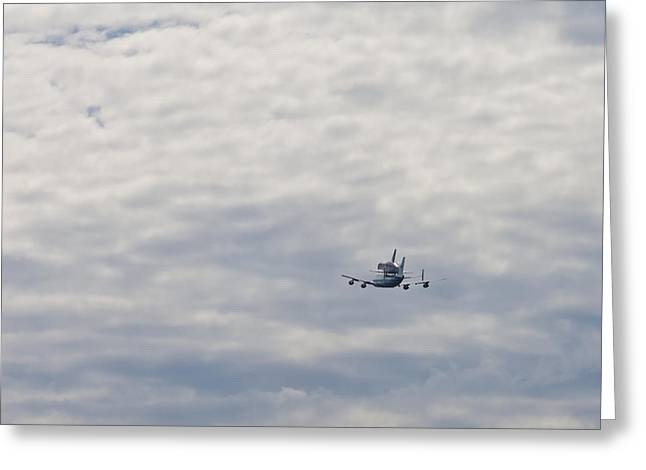 Space Shuttle Discovery Flyover Over The Washington D.c. Area  Greeting Card by Dasha Rosato