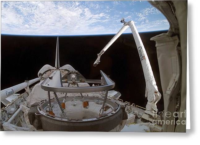 Space Shuttle Discoverys Payload Bay Greeting Card by Stocktrek Images