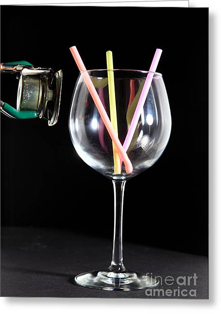Speaker And A Glass With No Resonance Greeting Card by Ted Kinsman