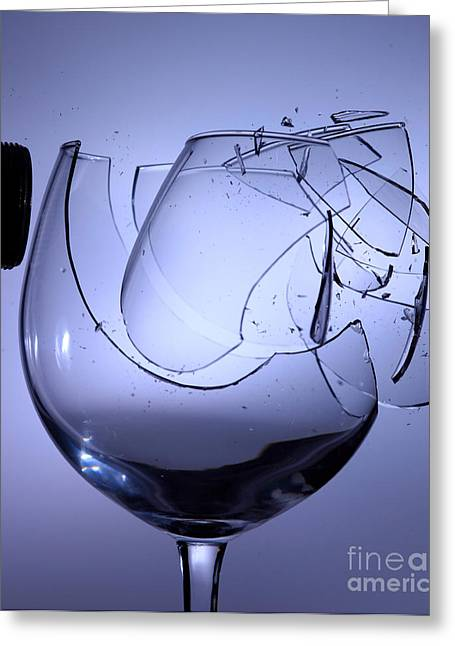 Speaker Breaking A Glass With Sound Greeting Card by Ted Kinsman