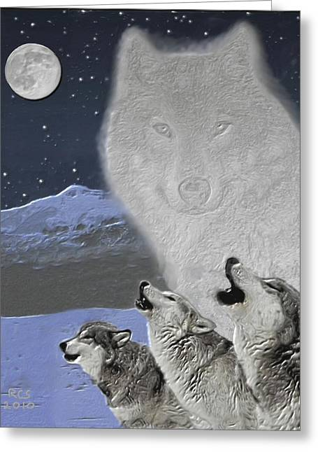 Spirit Wolf Greeting Card by Richard Stevens
