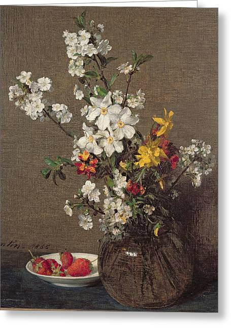 Spring Bouquet Greeting Card by Ignace Henri Jean Fantin-Latour