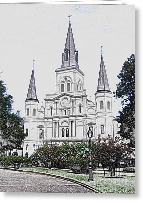 St Louis Cathedral Jackson Square French Quarter New Orleans Colored Pencil Digital Art  Greeting Card by Shawn O'Brien