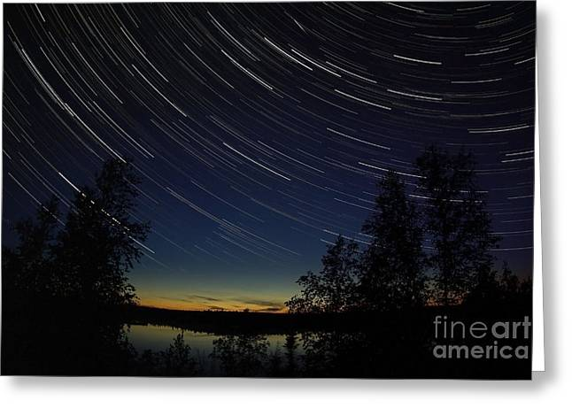 Star Trails At Dusk Greeting Card