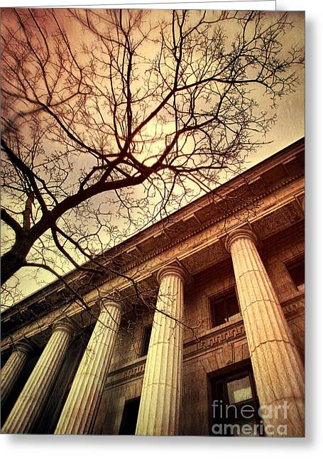 Stark Facade Of Justice Courthouse From Low Angel View  Greeting Card by Sandra Cunningham