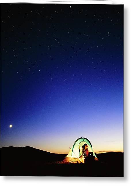 Starry Sky And Stargazer Greeting Card by David Nunuk