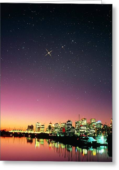 Starry Sky Over Vancouver Greeting Card by David Nunuk