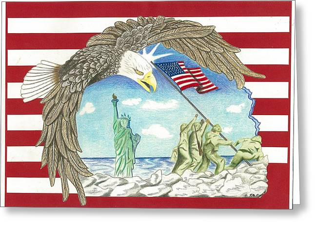 Stars And Stripes Greeting Card by Thomas Cavaness