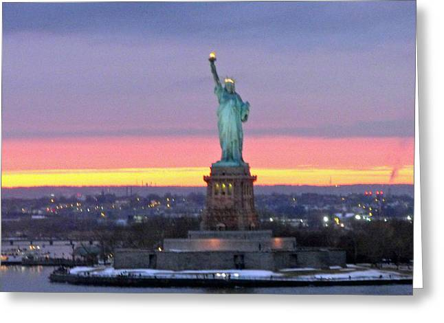 Statue Of Liberty At Sunset Greeting Card by Mircea Veleanu