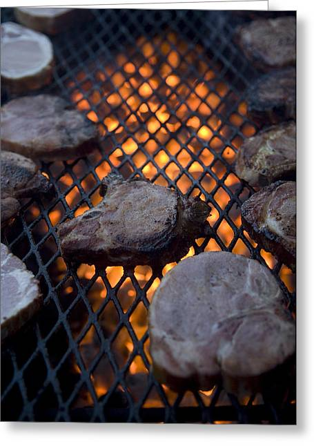 Steaks On A Campfire Grill At The 4-h Greeting Card by Joel Sartore