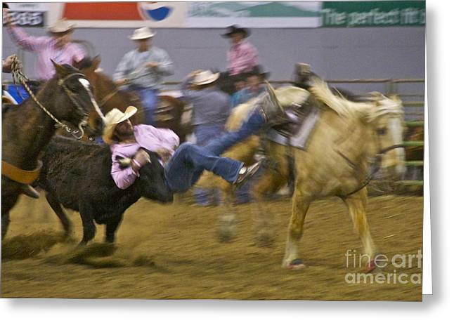 Steer Wrestler Greeting Card by Sean Griffin